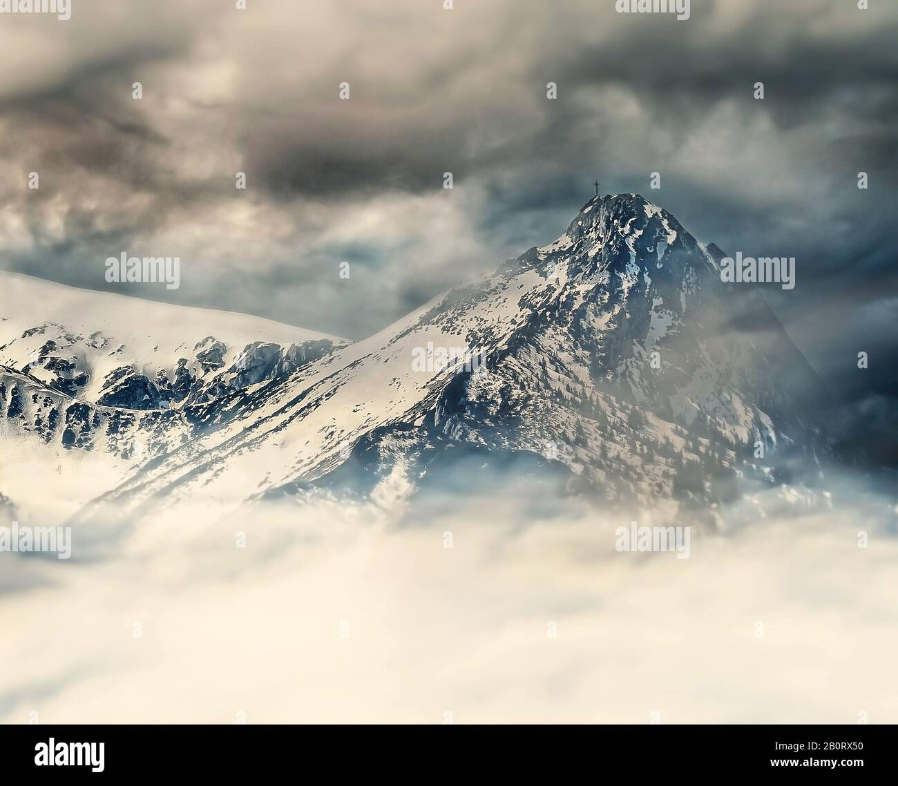 snow-capped peaks and a windy day in the Tatras Polish mountains Stock Photo