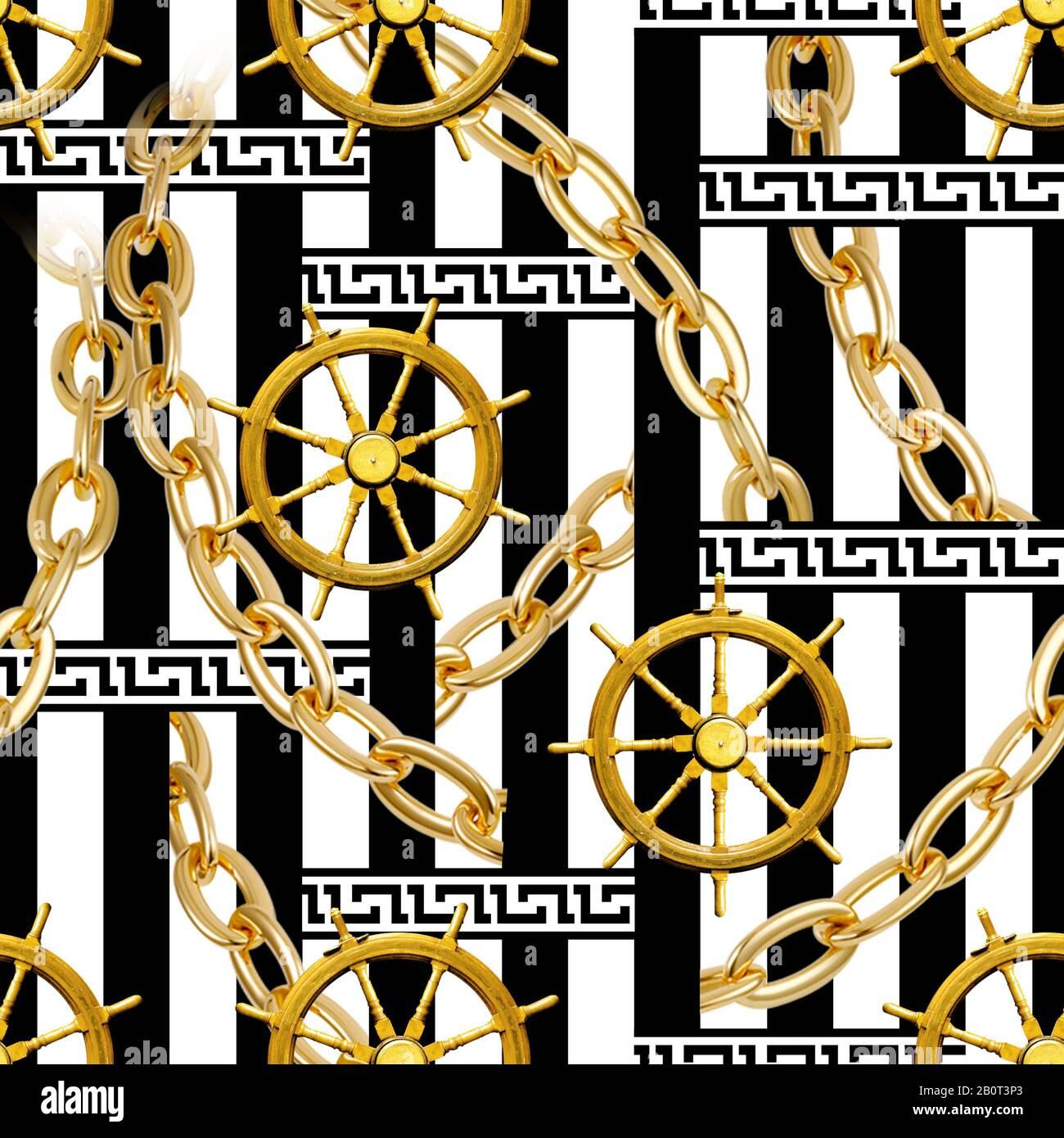 Seamless Rudder Gold Chains Border Pattern On Black White Stripes Background Illustration Stock Photo Alamy