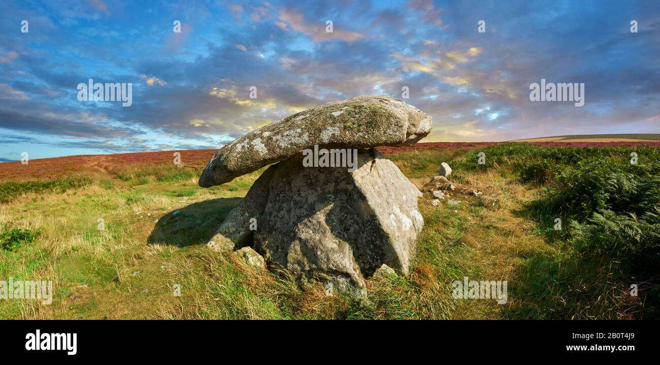 Chun or Chûn, Quoit is a megalithic burial dolmen from the Neolithic period, circa 2400 BC, near Morvah on the Chun Nature Reserve, Penwith peninsula, Stock Photo