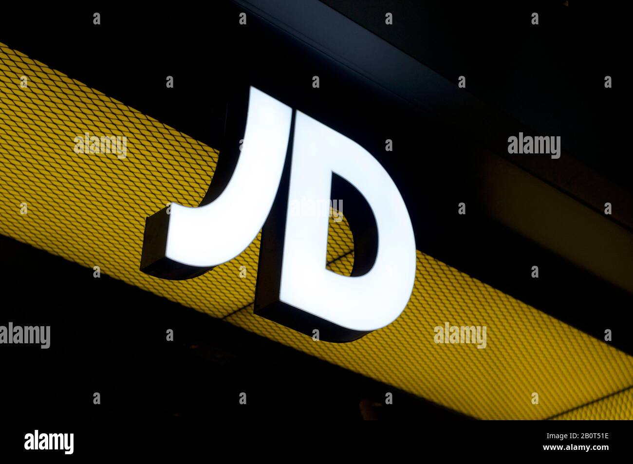 jd sports logo high resolution stock photography and images alamy https www alamy com brisbane queensland australia 17th january 2020 view of an illuminated jd sports sign hanging at the shop entrance in brisbane jd sports is a s image344738170 html