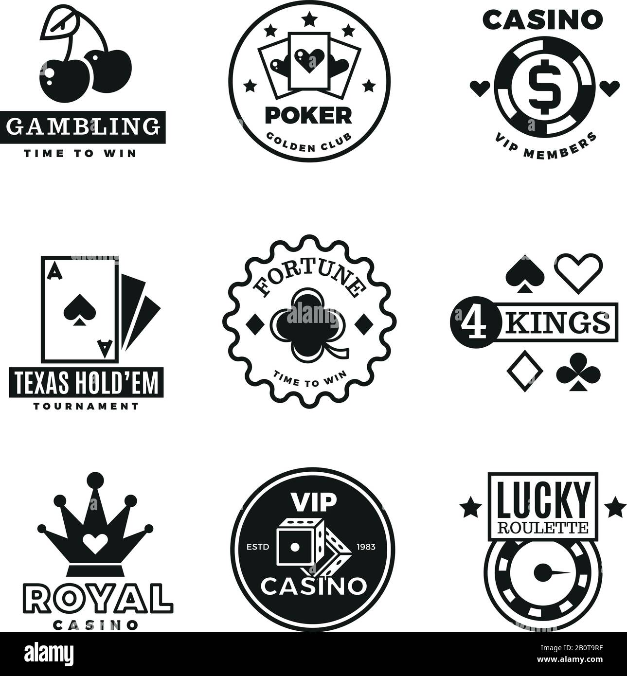 Vintage gambling, casino, poker royal tournament, roulette vector labels, emblems, logos and badges. Poker game logo, illustration of gamble game emblem Stock Vector