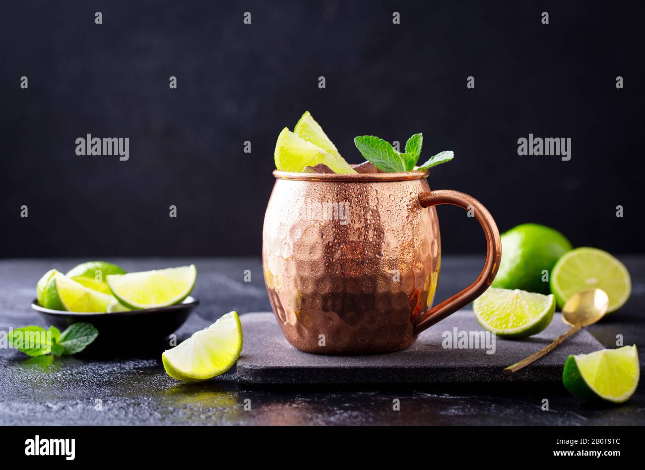 Moscow Mule Cocktail With Ginger Beer Vodka Lime And Mint Dark Background Close Up Stock Photo Alamy