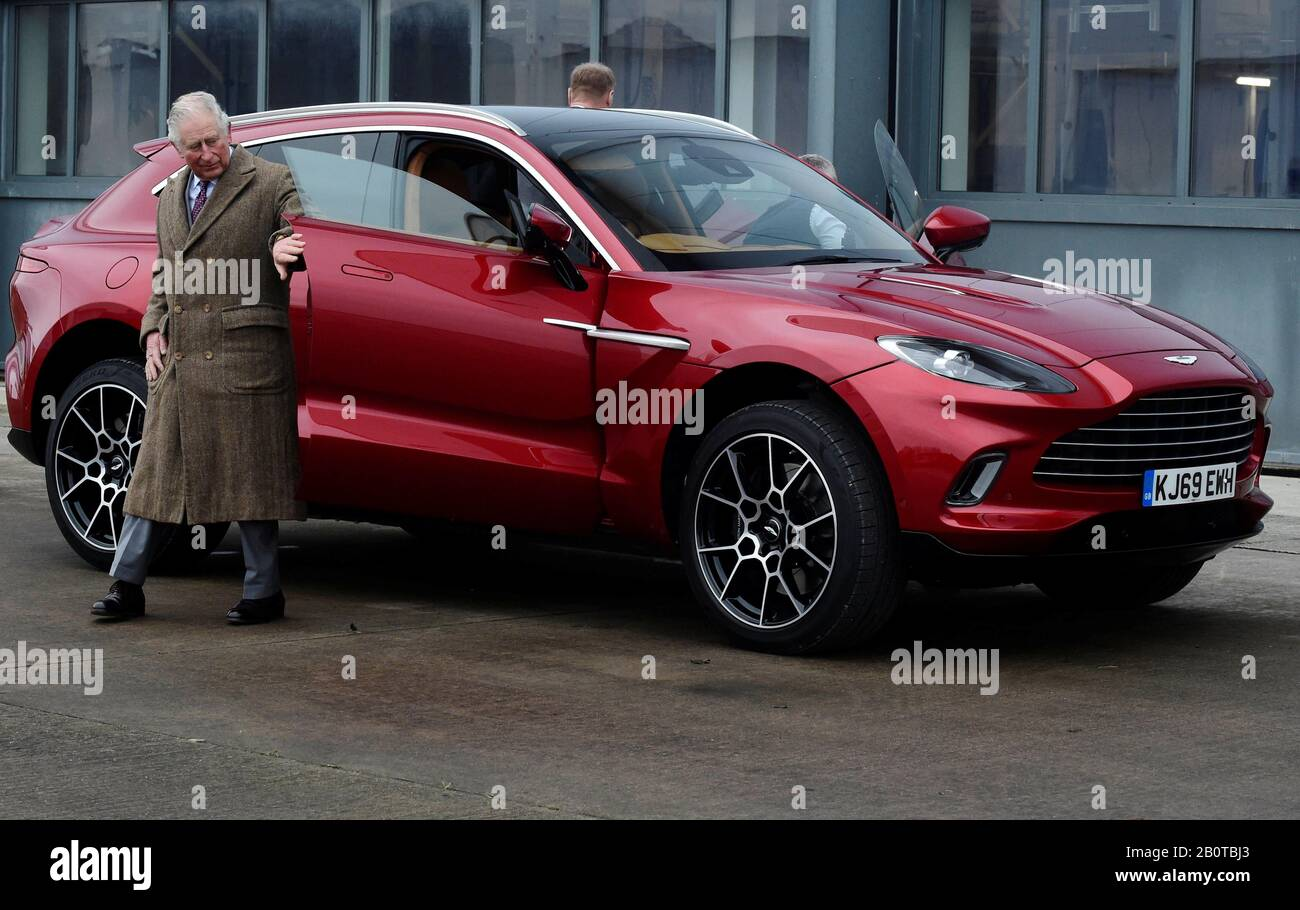 The Prince Of Wales Leaves The New Aston Martin Dbx During A Visit To The Aston Martin Lagonda Factory At St Athan In Barry Wales Stock Photo Alamy
