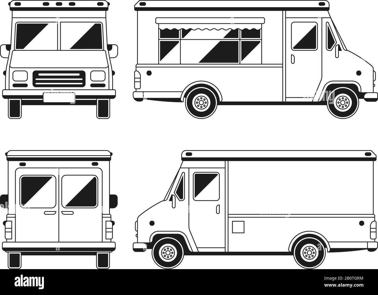 Blank commercial food truck in different points of view. Outline vector template for you advertising. Vehicle van for retail street illustration Stock Vector