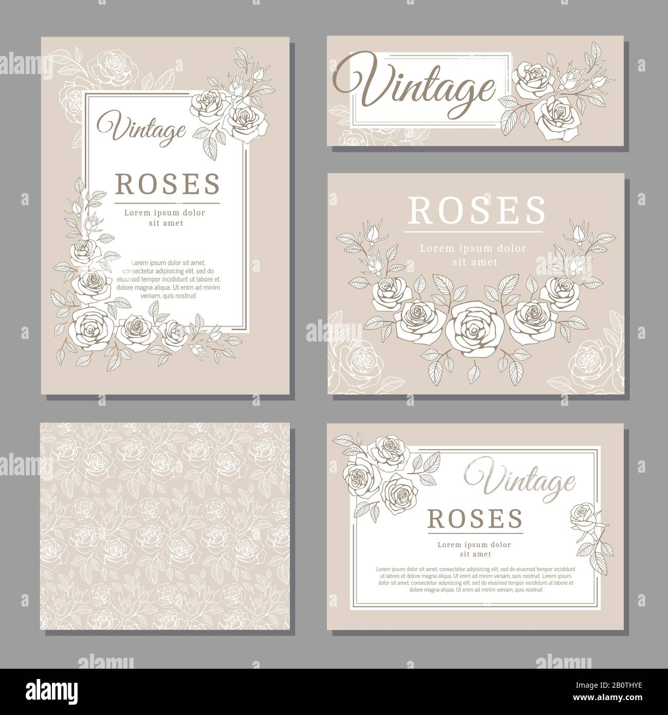 Classic Wedding Vintage Invitation Cards With Roses And Floral Elements Vector Templates Invitation Card Wedding With Floral Vintage Pattern Illustration Stock Vector Image Art Alamy