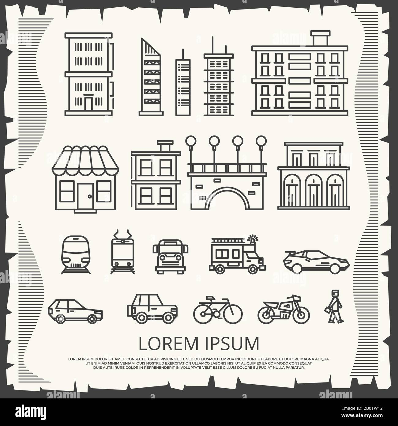 Modern City Elements On Vintage Poster Line Art City Poster Design Urban Fashion Building Vector Illustration Stock Vector Image Art Alamy