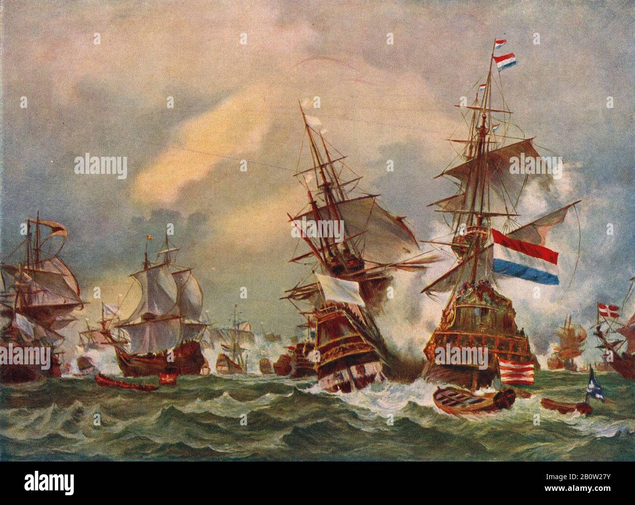 A reprodution of the painting by Eugène Isabey, published circa 1915 of the Battle of Texel on 29 June 1694 during the Nine Years' War between Jean Bart the French naval commander and privateer and a Dutch fleet commanded by Hidde Sjoerds de Vries. Stock Photo