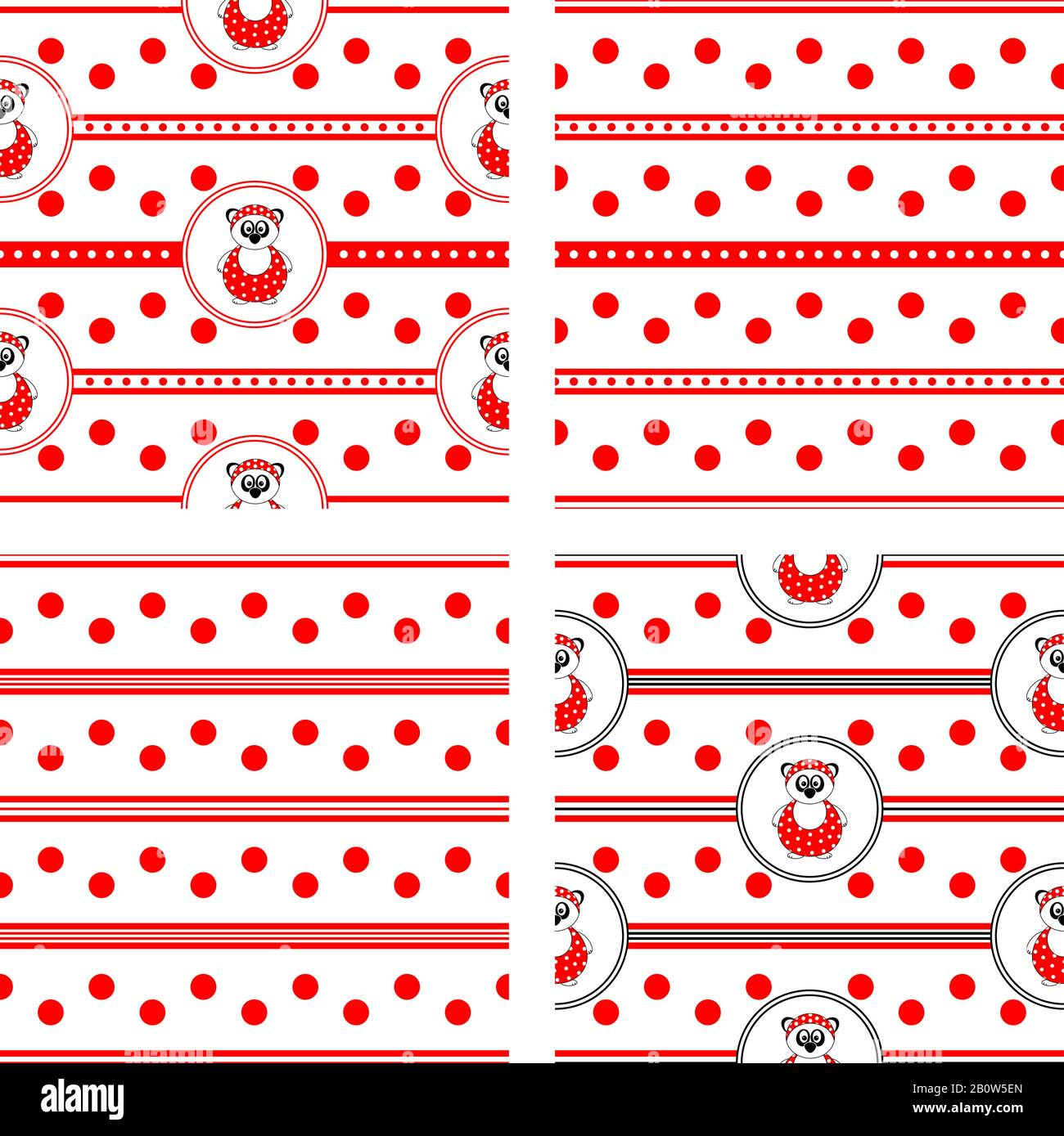 set of four seamless vector patterns with panda bear in bathing suit and red polka dots and stripes Stock Vector