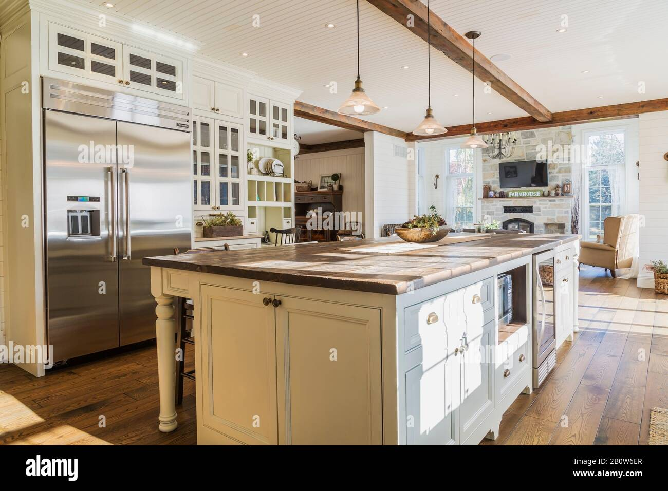 Interior View Of Country Style Open Plan Kitchen With Kitchen