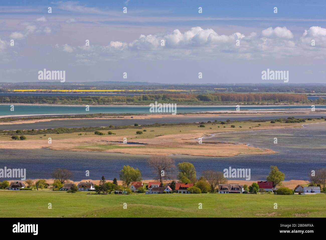 Aerial view from Dornbusch Lighthouse over Hiddensee Island in the Baltic Sea, Mecklenburg-Western Pomerania / Mecklenburg-Vorpommern, Germany Stock Photo