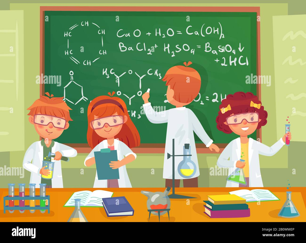 School kids study chemistry. Children pupils studying science and writing at laboratory class blackboard cartoon vector illustration Stock Vector