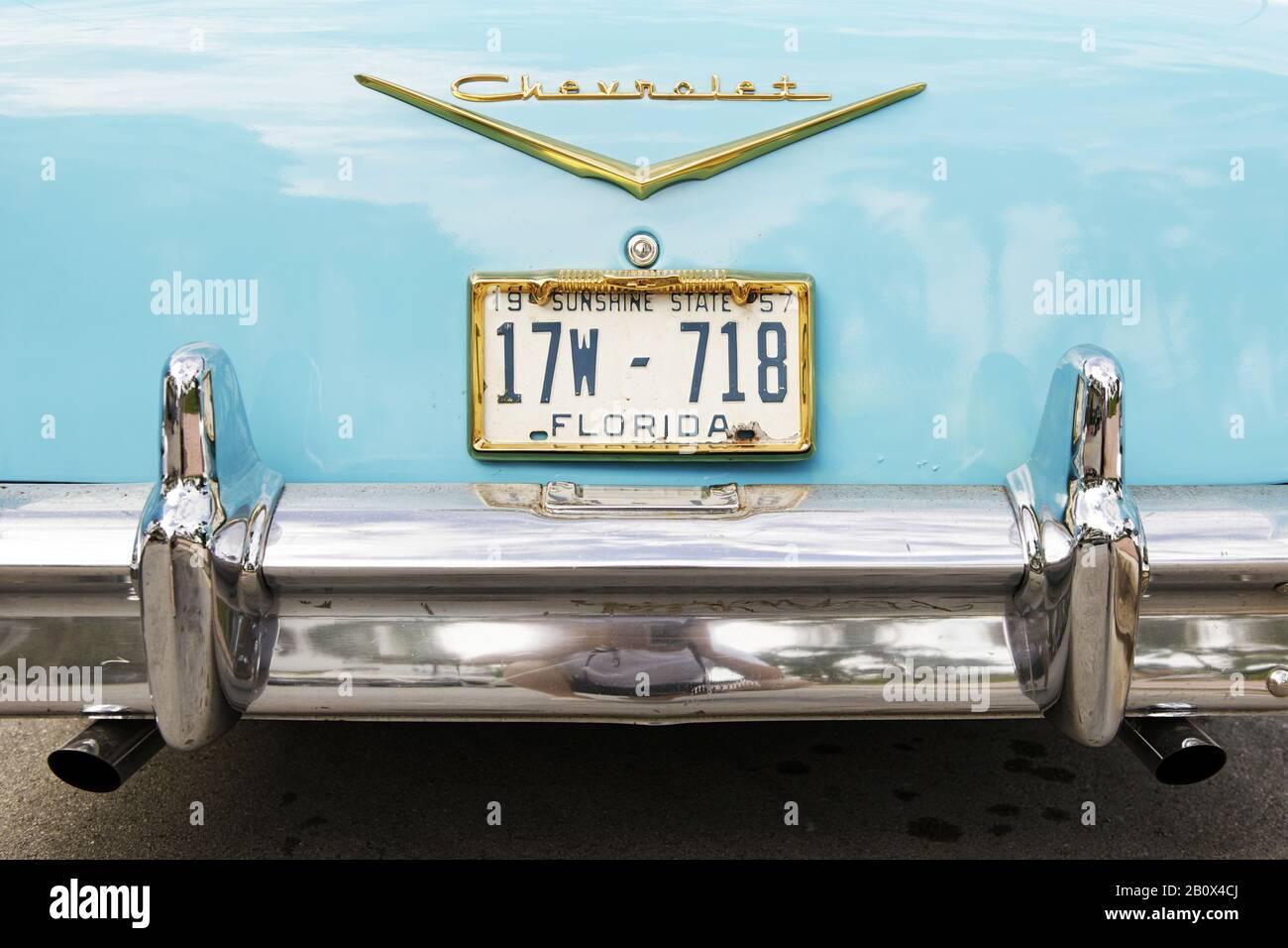 Rear view, Chevrolet Bel Air, built in 1957, fifties, classic American car, Ocean Drive, Miami South Beach, Art Deco District, Florida, USA, Stock Photo