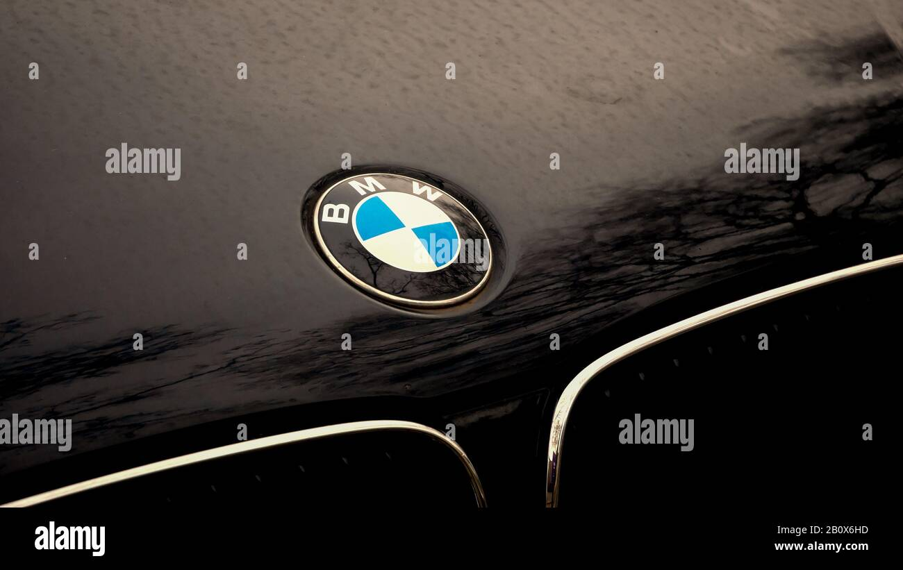 Berlin Germany February 12 2020 Bmw Logo On A Black Car With Reflections Of Trees Stock Photo Alamy