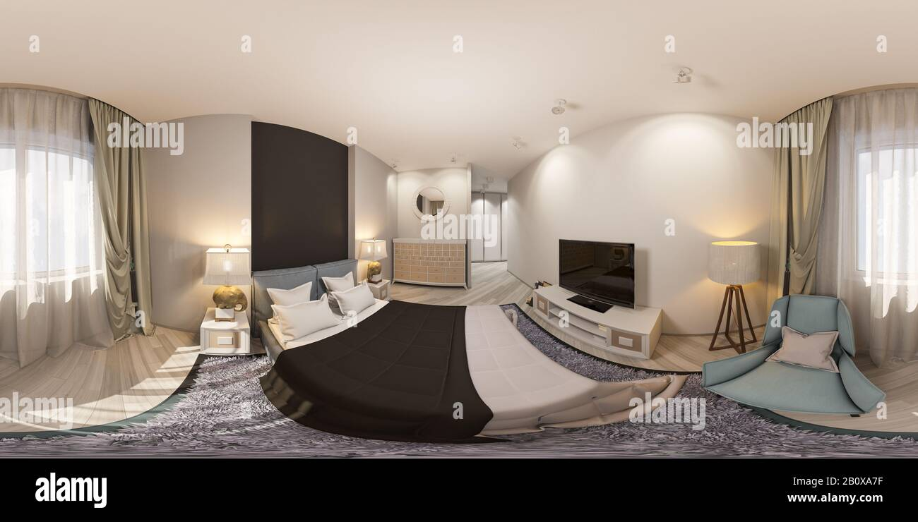 3d Render Of A Seamless 360 Degree Panorama Of A Wardrobe For Clothes In The Bedroom Illustration For Virtual Reality Bedroom Interior Design In A Ci Stock Photo Alamy