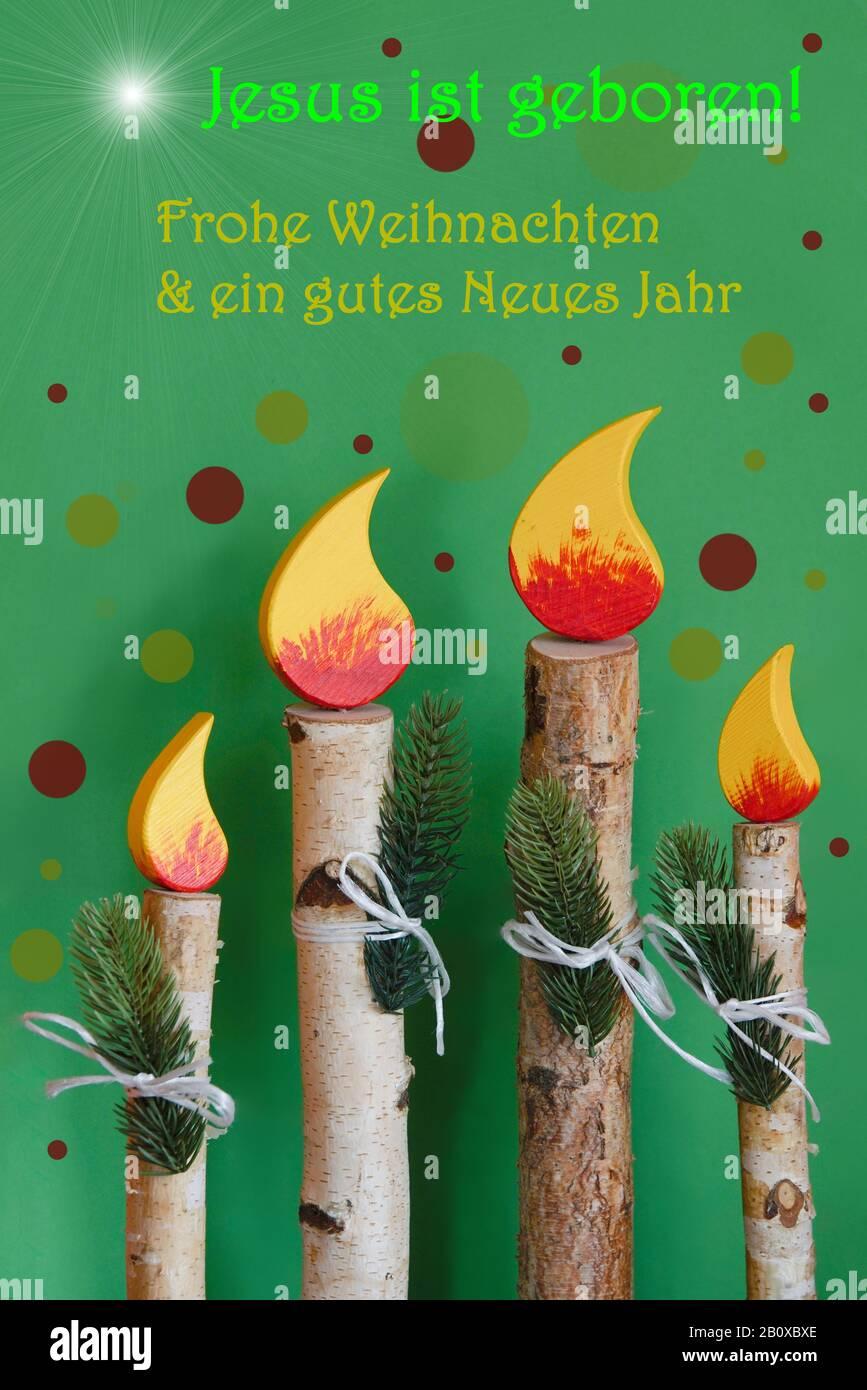 Vierter Advent - Weihnachtskarte mit Birkenholzdeko Stock Photo