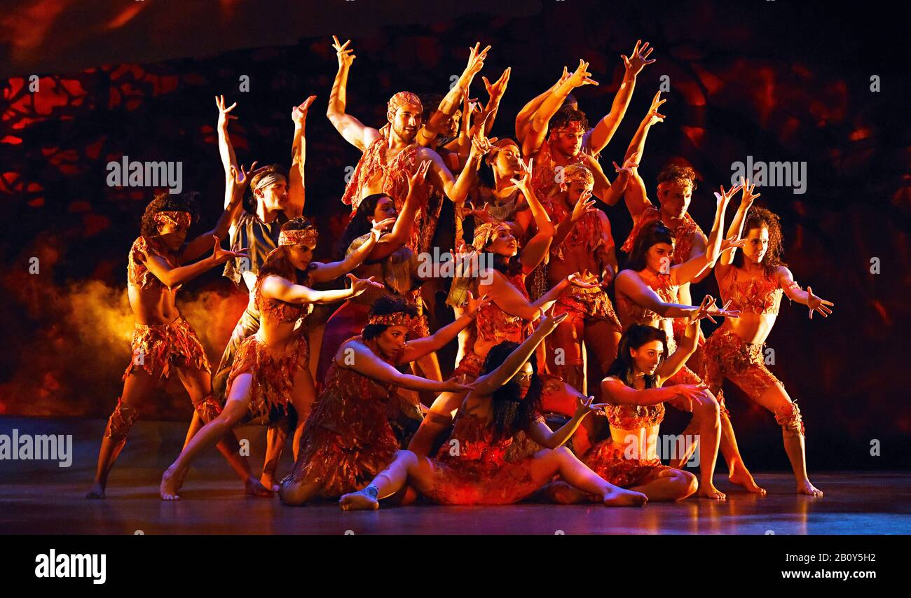 London, UK. 21st Feb, 2020. The ensemble cast in a scene from 'Prince of Egypt' play at the Dominion Theatre, Tottenham Court Road in London. Credit: SOPA Images Limited/Alamy Live News Stock Photo