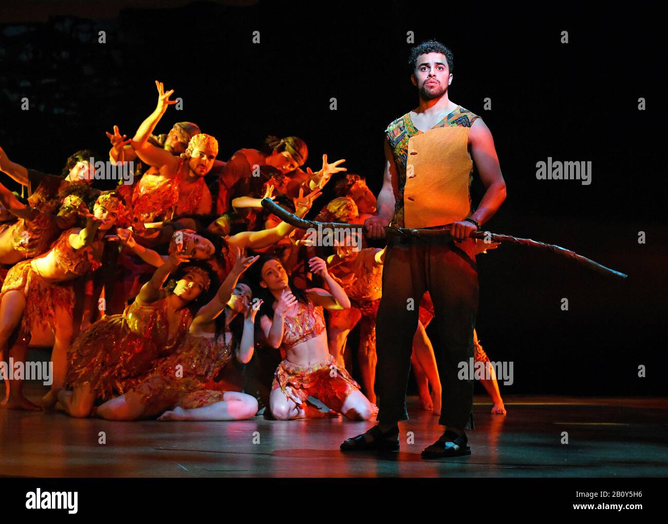 London, UK. 21st Feb, 2020. Luke Brady in a scene from 'Prince of Egypt' play at the Dominion Theatre, Tottenham Court Road in London. Credit: SOPA Images Limited/Alamy Live News Stock Photo