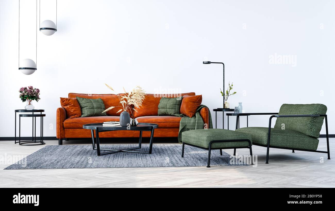 Modern interior design of a living room indoors apartment, home, office, bright orange sofa, fresh flowers and modern interior details on a white wall Stock Photo