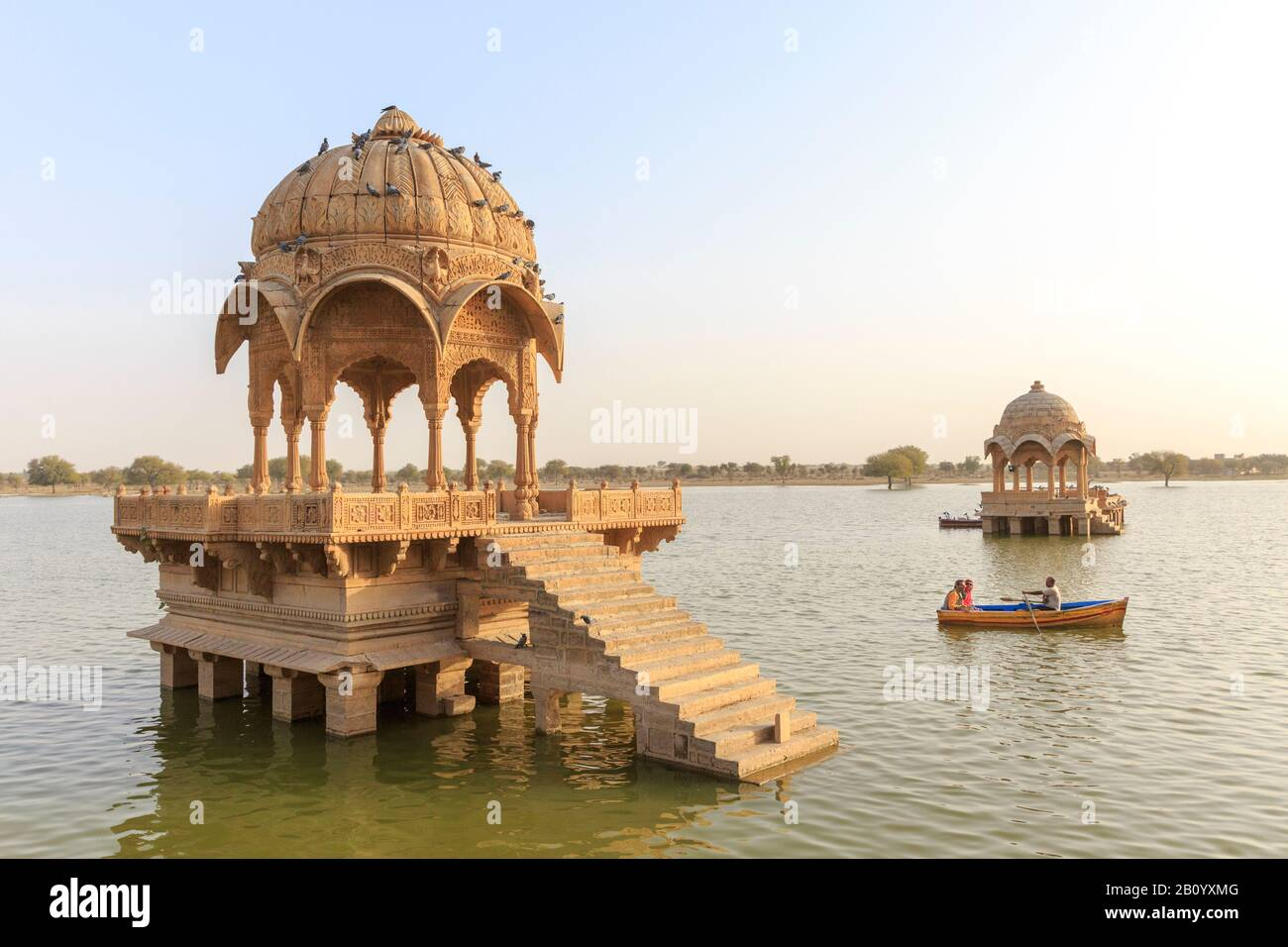 Gadisar Lake, Gadi Sagar, Jaisalmer, Rajasthan, India - Stock Photo