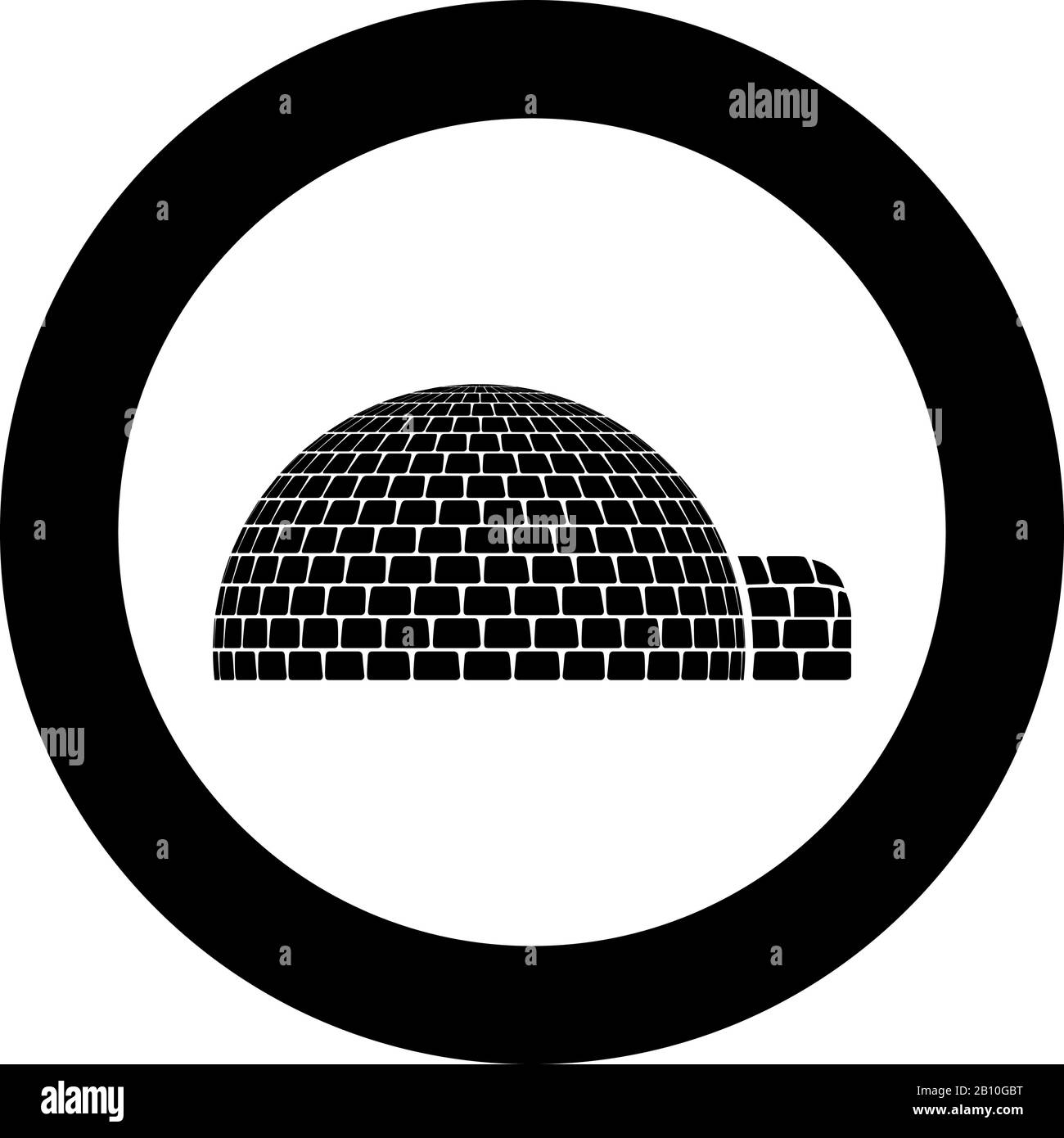 Igloo dwelling with icy cubes blocks Place when live inuits and eskimos Arctic home Dome shape icon in circle round black color vector illustration Stock Vector