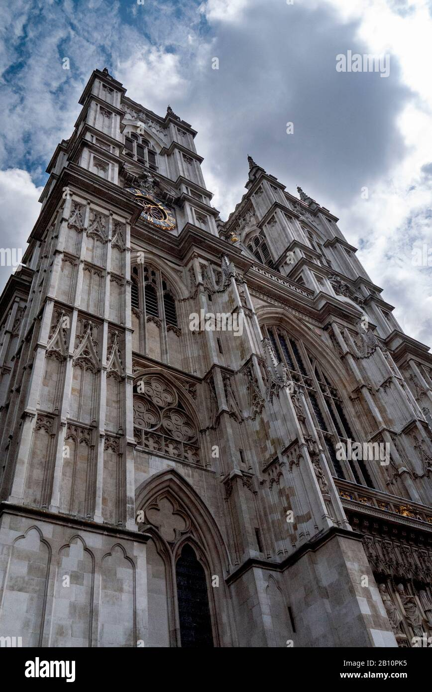 The great twin towers and Western facade of Westminster Abbey. Westmister, London, United Kingdom Stock Photo
