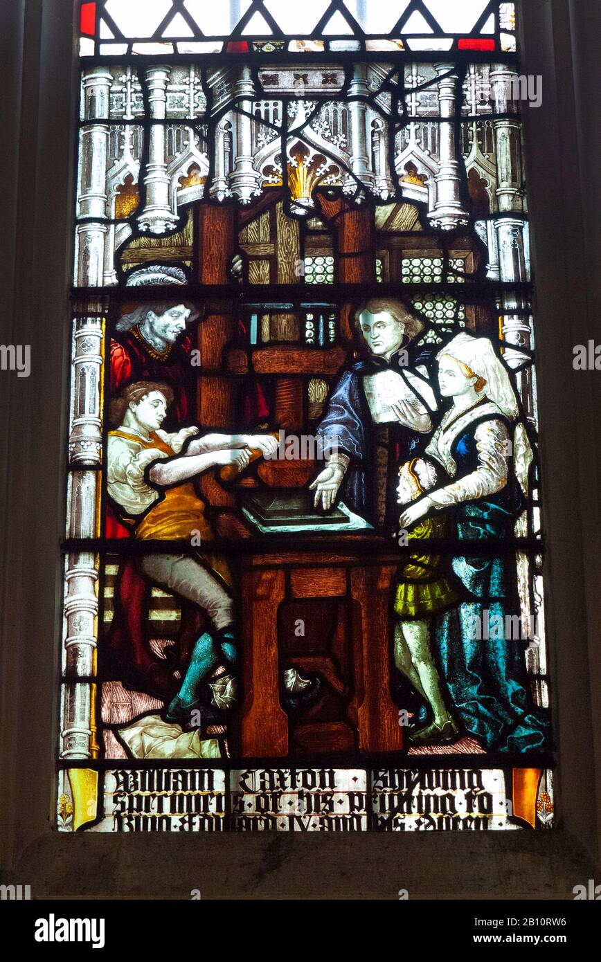 Stained glass window showing William Caxton, King Edward IV and printing press inside Saint Margaret's Church, Westminster, London, United Kingdom Stock Photo