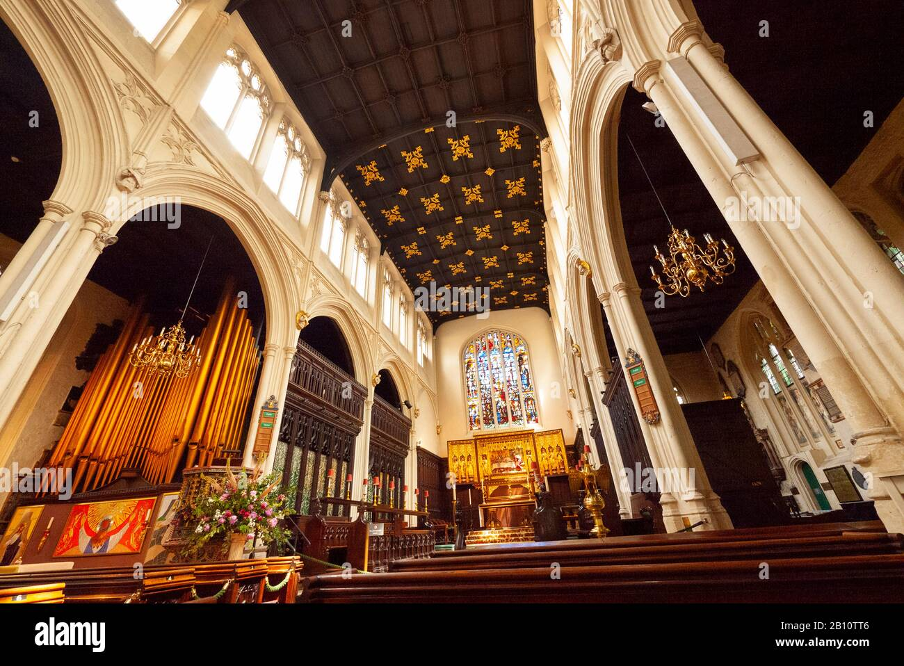 Interior of Saint Margaret's Church showing ceiling and nave, Westminster, London, United Kingdom Stock Photo