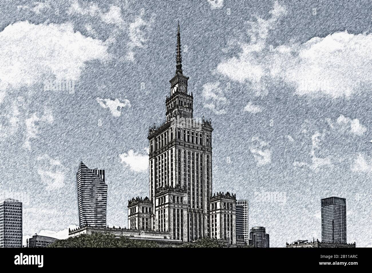 The Palace of Culture and Science (Palac Kultury i Nauki) was built between 1952 and 1955, Warsaw, Masovian, Poland, Europe Stock Photo