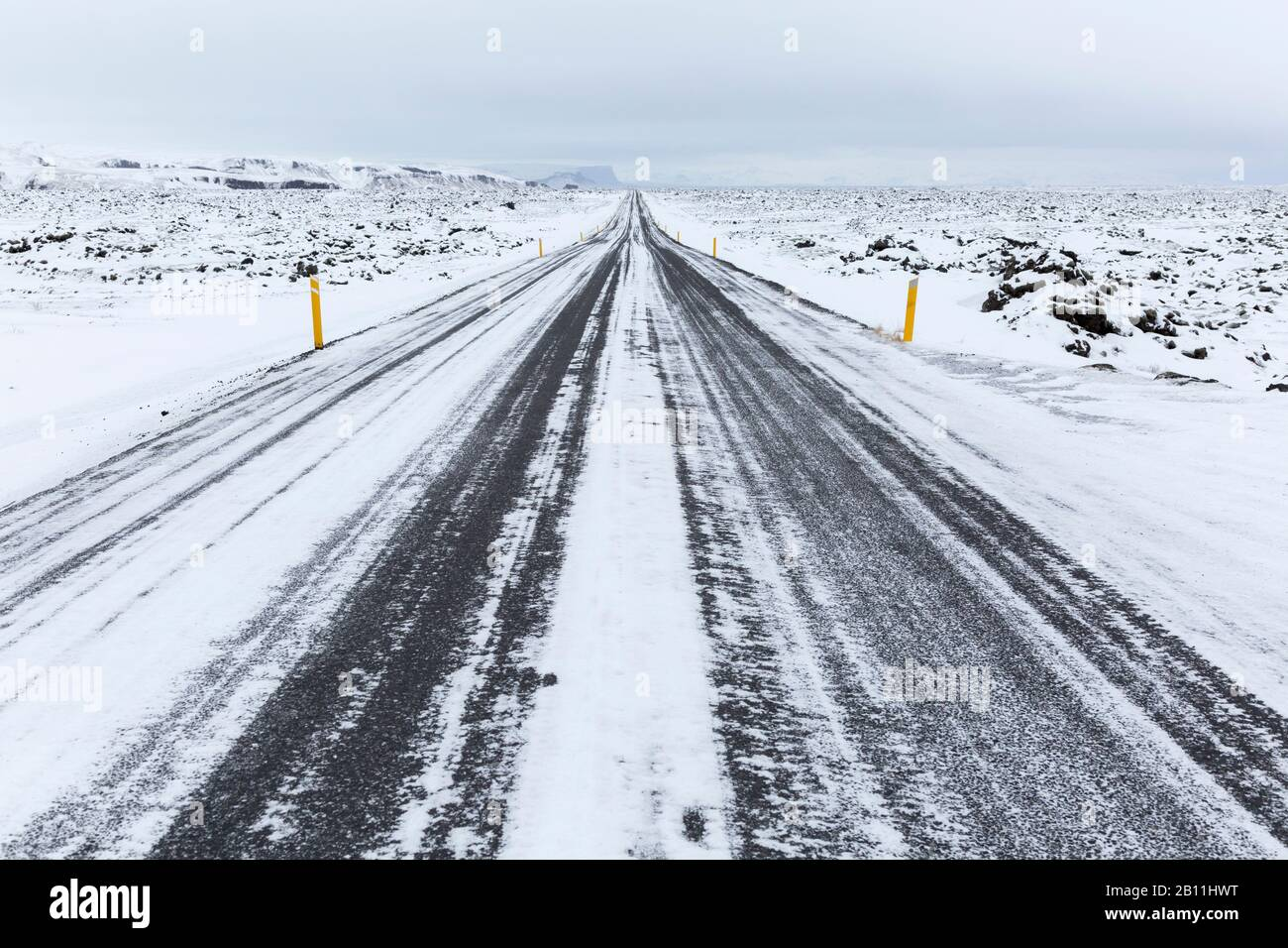 National Road 1 or Ring Road, the main traffic route in Iceland Stock Photo