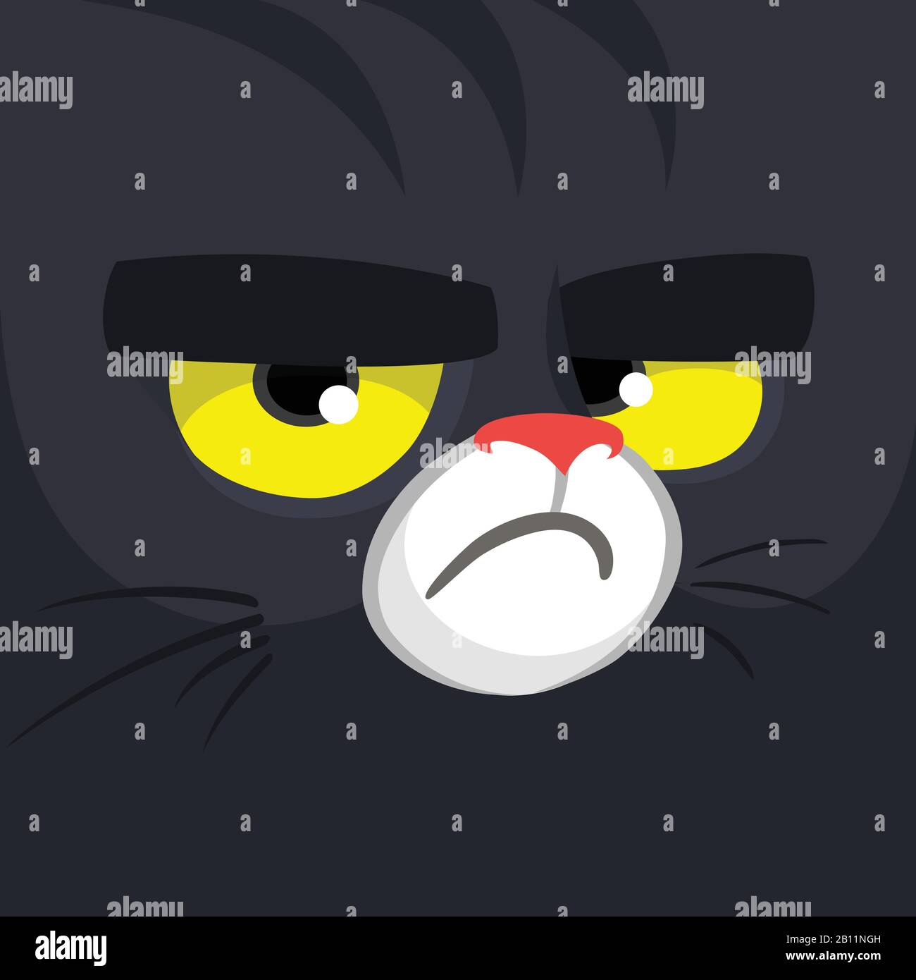 Cartoon Black Witch Cat Face Cute Square Avatar Or Icon