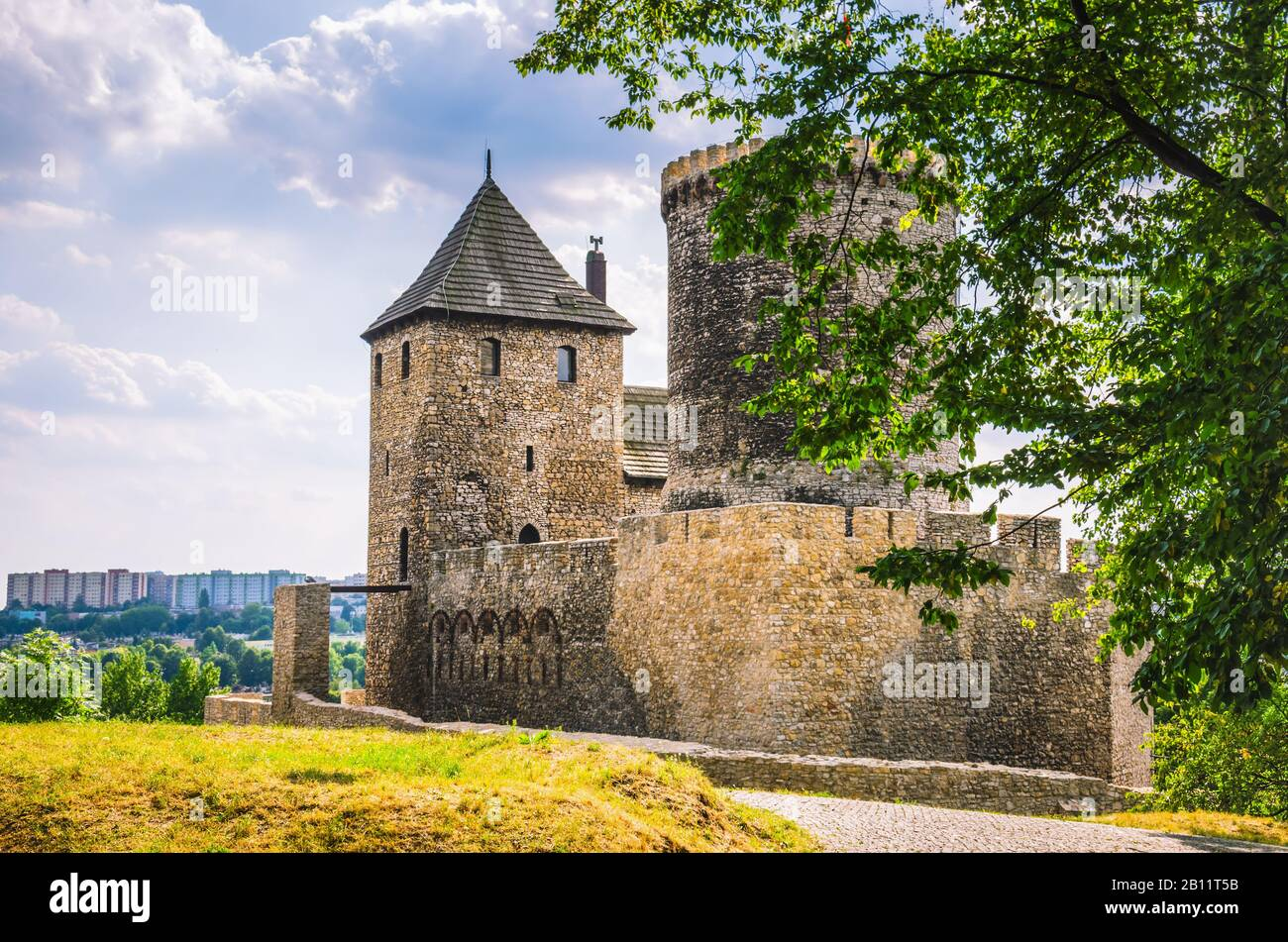 Medieval stone castle in Bedzin city, Poland Stock Photo