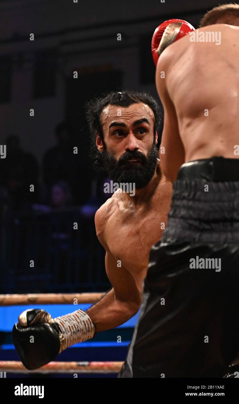 Bethnal Green, United Kingdom. 21st Feb, 2020. Inder Bassi Singh. Preliminary bout 3. MTK Golden contract boxing semi finals. York Hall. Bethnal Green. London. UK. Credit Garry Bowden/Sport in Pictures/Alamy Live News. Credit: Sport In Pictures/Alamy Live News Stock Photo