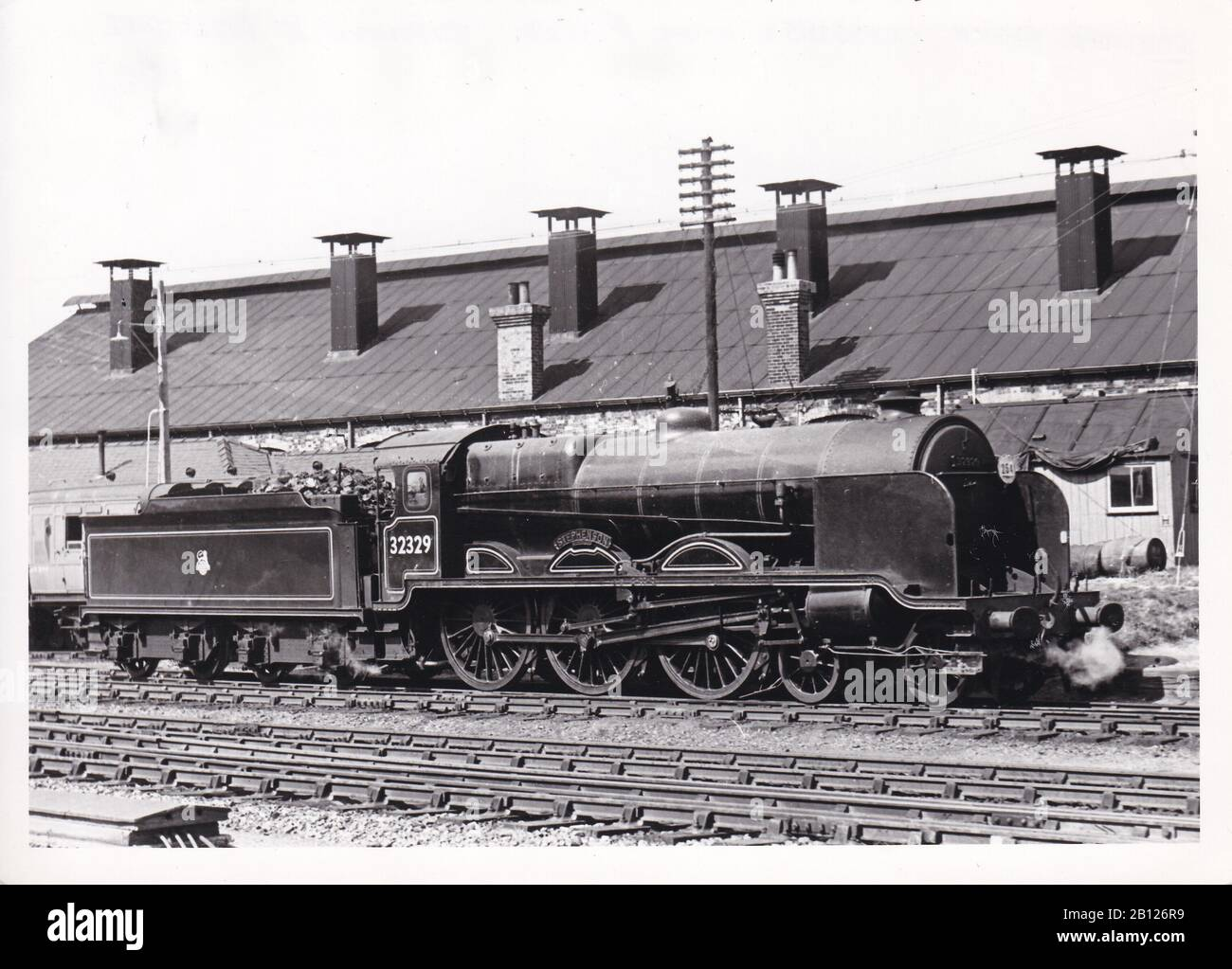 Vintage Black And White Photo Of Steam Locomotive Train Southern Region Class N15x 4 6 0 32329 Stephenson At Basingstoke August 1952 Stock Photo Alamy
