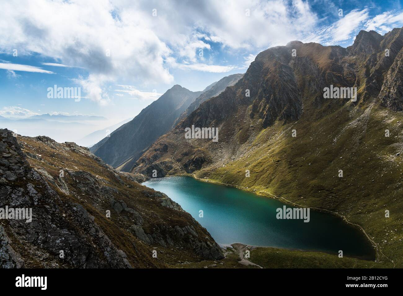 Hike to Seefeldspitze, view to Seefeldsee, Valser Tal, Pfunderer Berge, South Tyrol, Italy Stock Photo