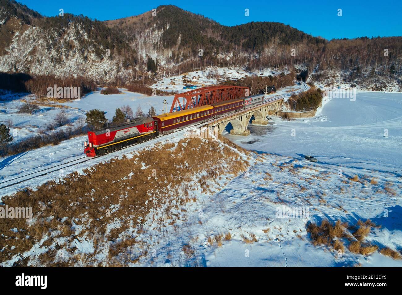 Trans-Siberian Railway at Lake Baikal, Russia Stock Photo