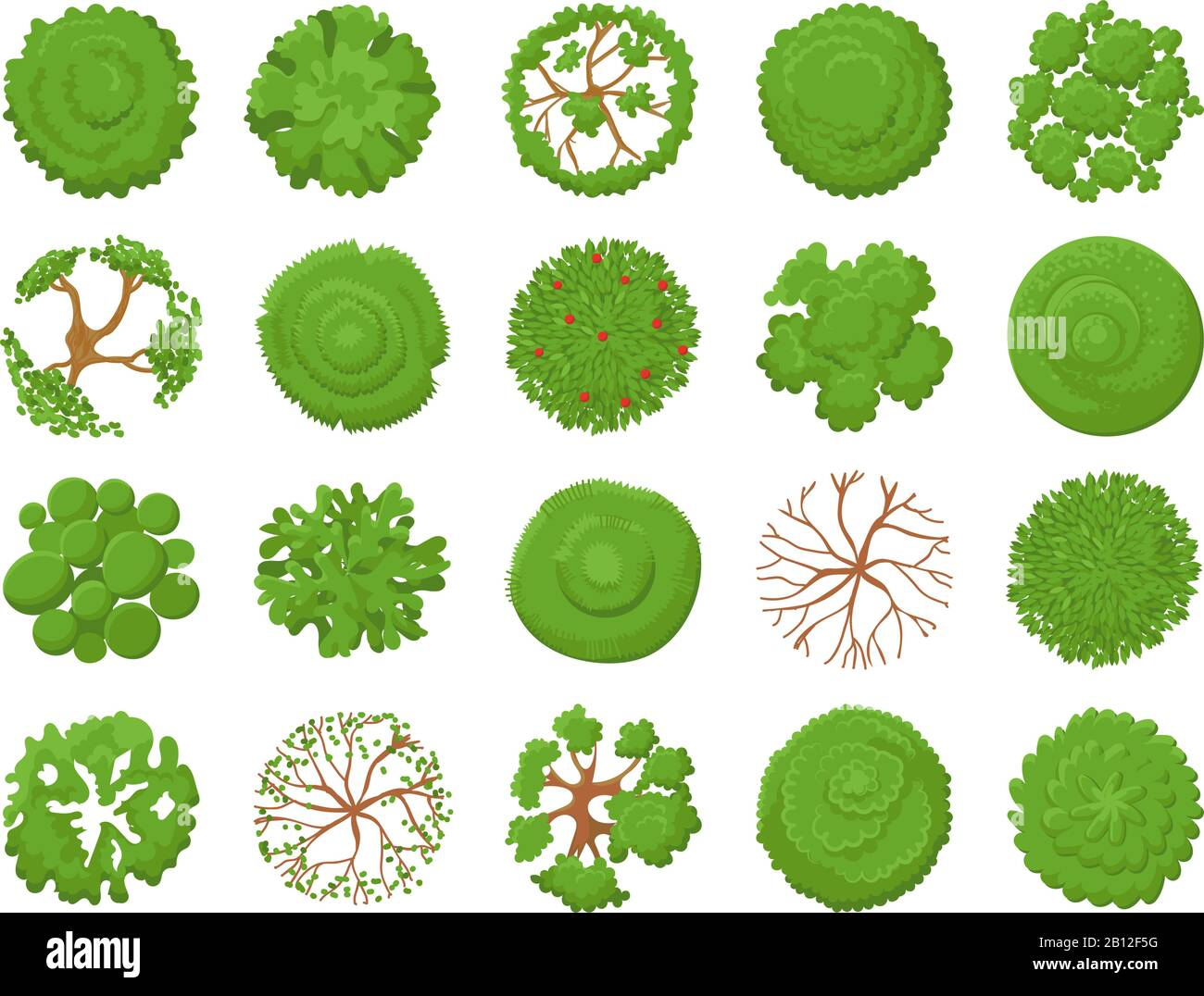 Top view tree. Planting green trees, park map vegetation and tropical forest maps viewing from above vector illustration set Stock Vector