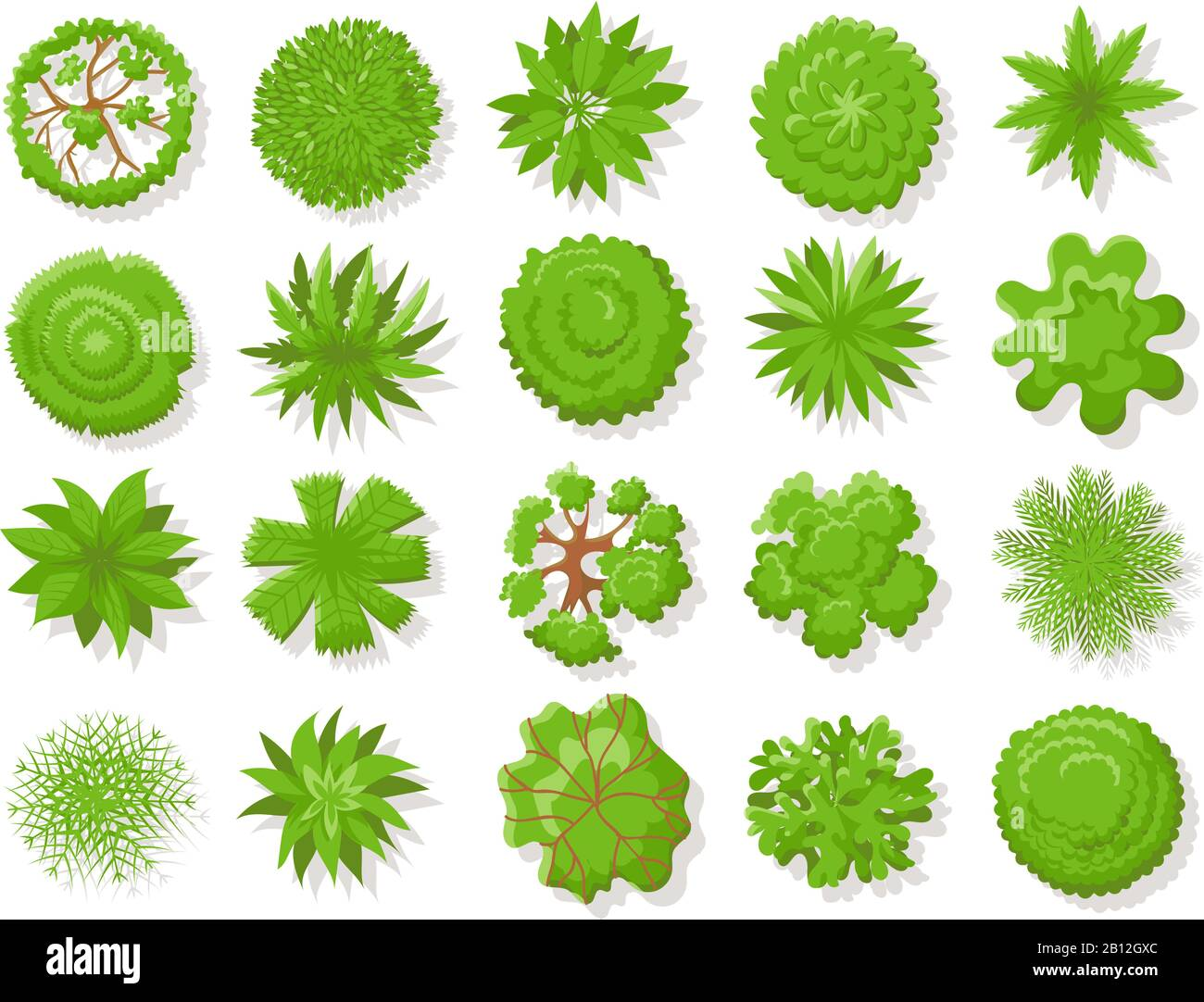 Top view plants. Tropical trees, green plant tree from above for aerial map isolated vector collection Stock Vector
