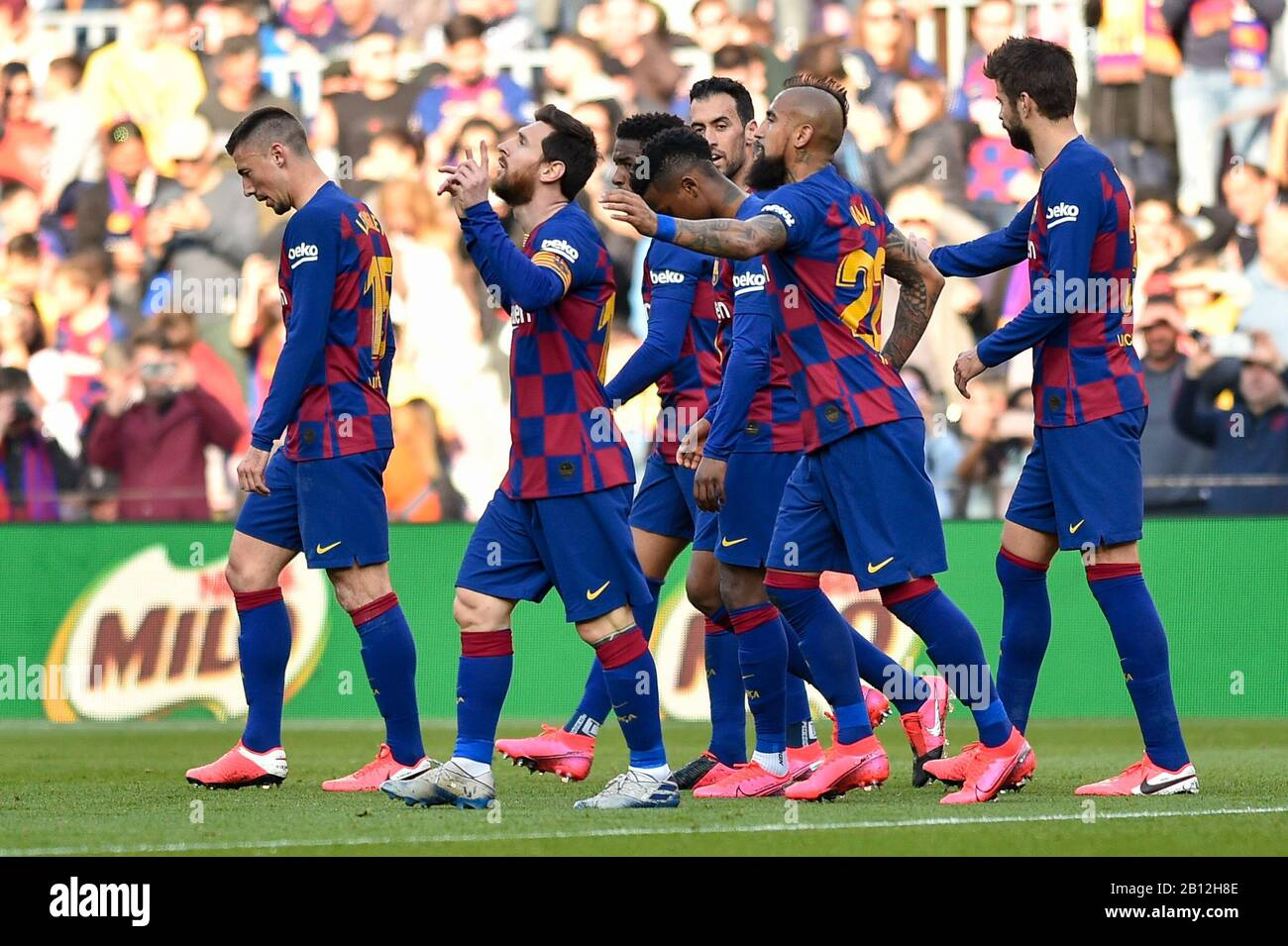 barcelona spain 22nd feb 2020 leo messi of fc barcelona celebrate his first goal during the https www alamy com barcelona spain 22nd feb 2020 leo messi of fc barcelona celebrate his first goal during the liga match between fc barcelona and sd eibar at camp nou on february 15 2020 in barcelona spain photo by daxespa images credit european sports photographic agencyalamy live news image344879486 html