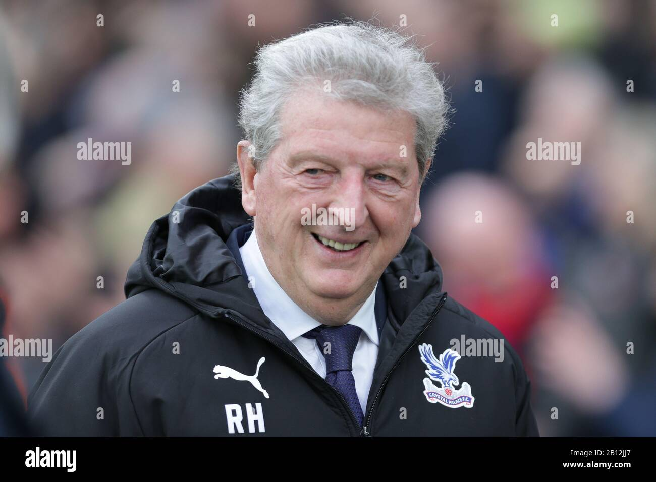 London, UK. 22nd Feb, 2020.  Roy Hodgson manager of Crystal Palace smiling during the Premier League match between Crystal Palace and Newcastle United at Selhurst Park, London on Saturday 22nd February 2020. (Credit: Jacques Feeney | MI News) Photograph may only be used for newspaper and/or magazine editorial purposes, license required for commercial use Credit: MI News & Sport /Alamy Live News Stock Photo