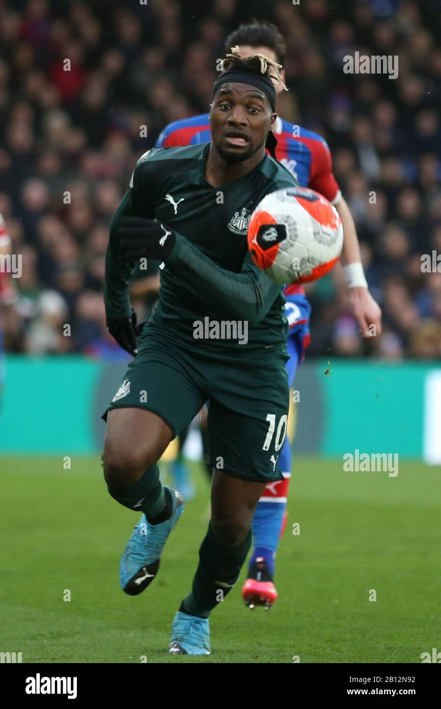 London, UK. 22nd Feb, 2020.Allan Saint-Maximin of Newcastle United during the Premier League match between Crystal Palace and Newcastle United at Selhurst Park, London on Saturday 22nd February 2020. (Credit: Jacques Feeney | MI News) Photograph may only be used for newspaper and/or magazine editorial purposes, license required for commercial use Credit: MI News & Sport /Alamy Live News Stock Photo