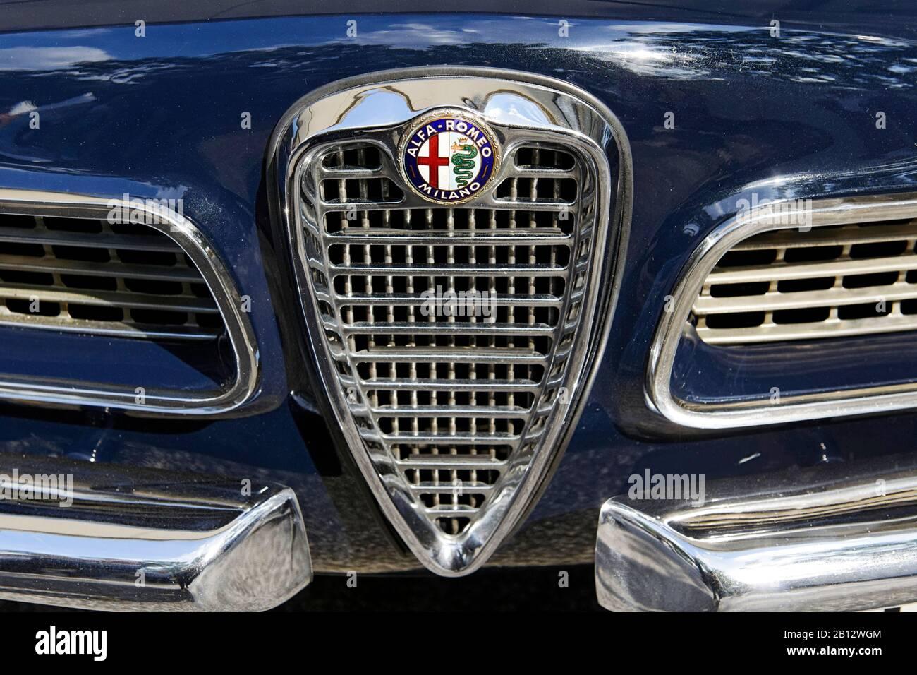 Grille,Alfa Romeo,classic car,historic vehicle,Hamburg,Germany,Europe Stock Photo