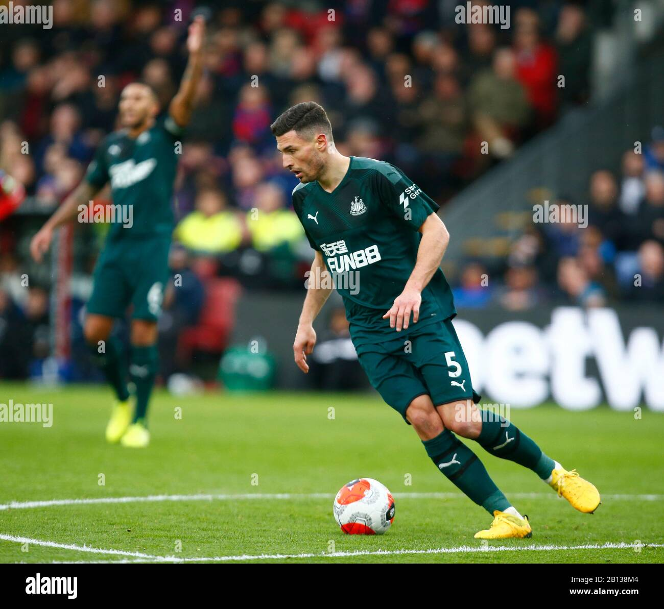 LONDON, UNITED KINGDOM. FEBRUARY 22 Newcastle United's Fabian Schar during English Premier League between Crystal Palace and Newcastle United at Selhurst Park Stadium, London, England on 22 February 2020 Credit: Action Foto Sport/Alamy Live News Stock Photo