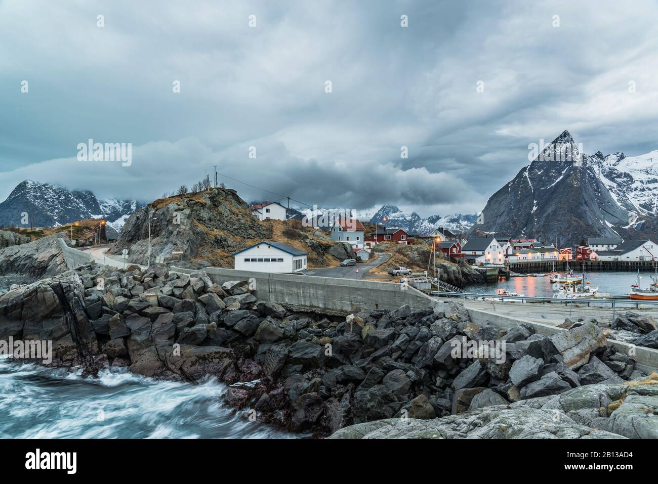 View of Hamnøy with the mountain Olstinden,Lofoten,Norway Stock Photo