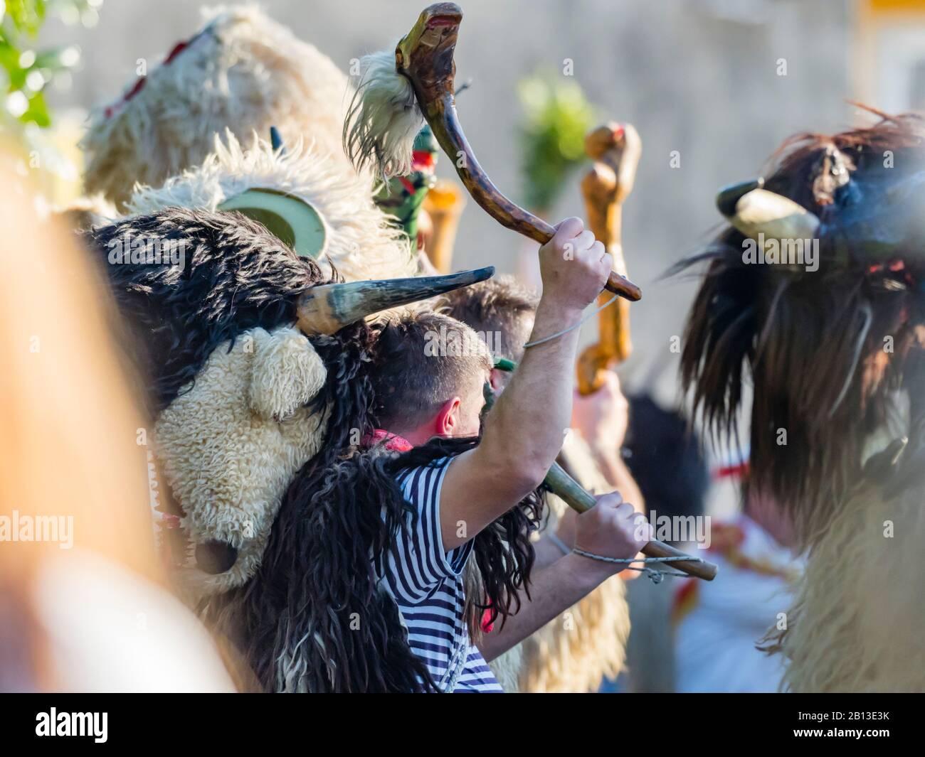 Annual meeting in Matulji near Rijeka bell-ringers from Kvarner Croatia Stock Photo