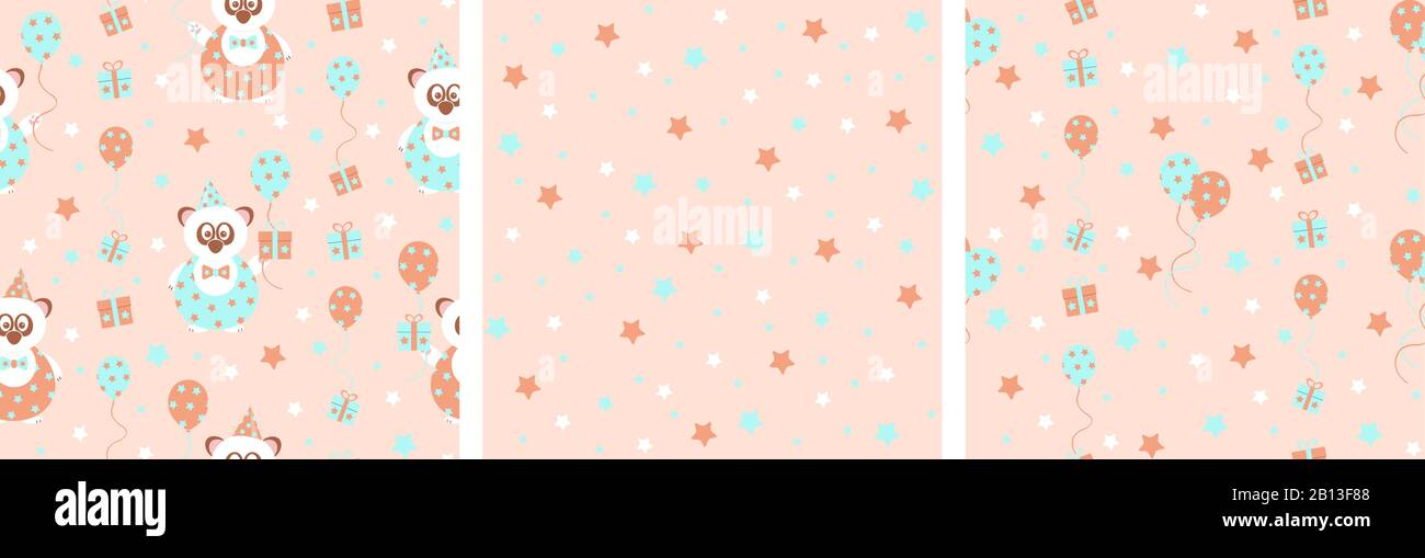 set of 3 seamless vector patterns with cute party panda bear with gifts and balloons, in soft pastel colors, orange and blue Stock Vector