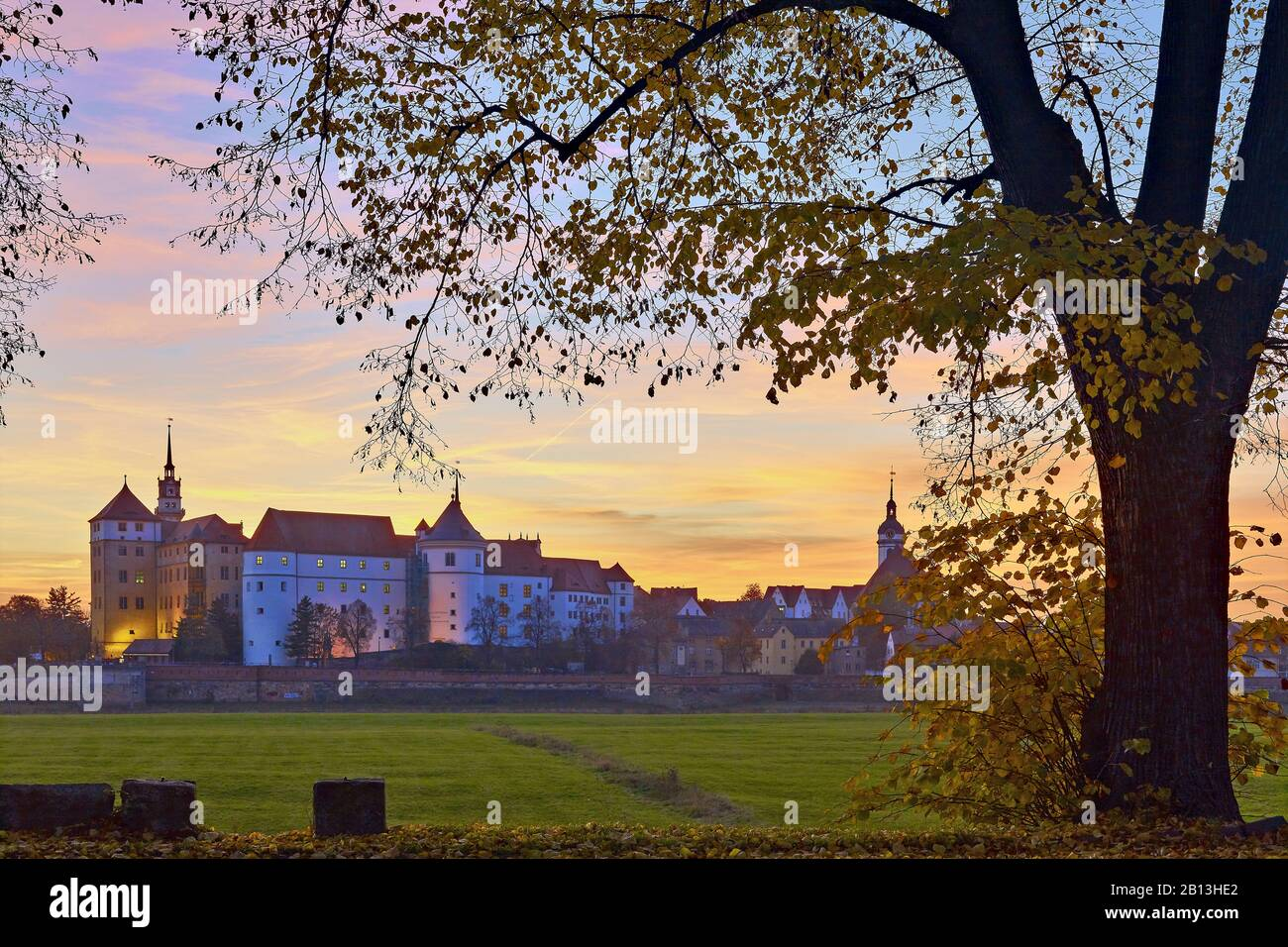 Castle Hartenfels on the Elbe in Torgau,Saxony,Germany Stock Photo