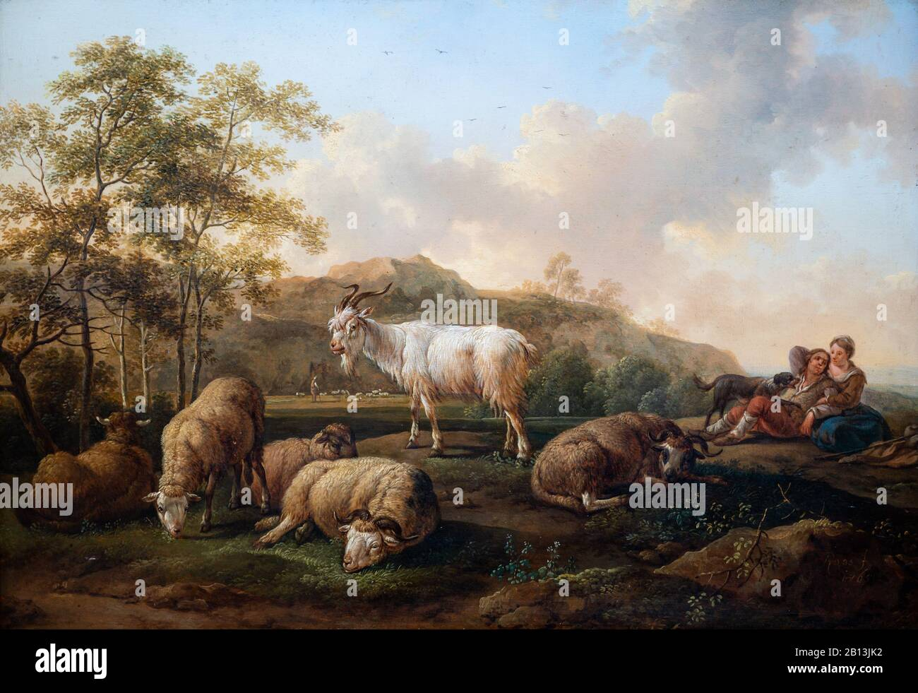 """Landscape with Grazing Cattle"" (1765) by Joseph Roos the Elder (1726-1805) Stock Photo"