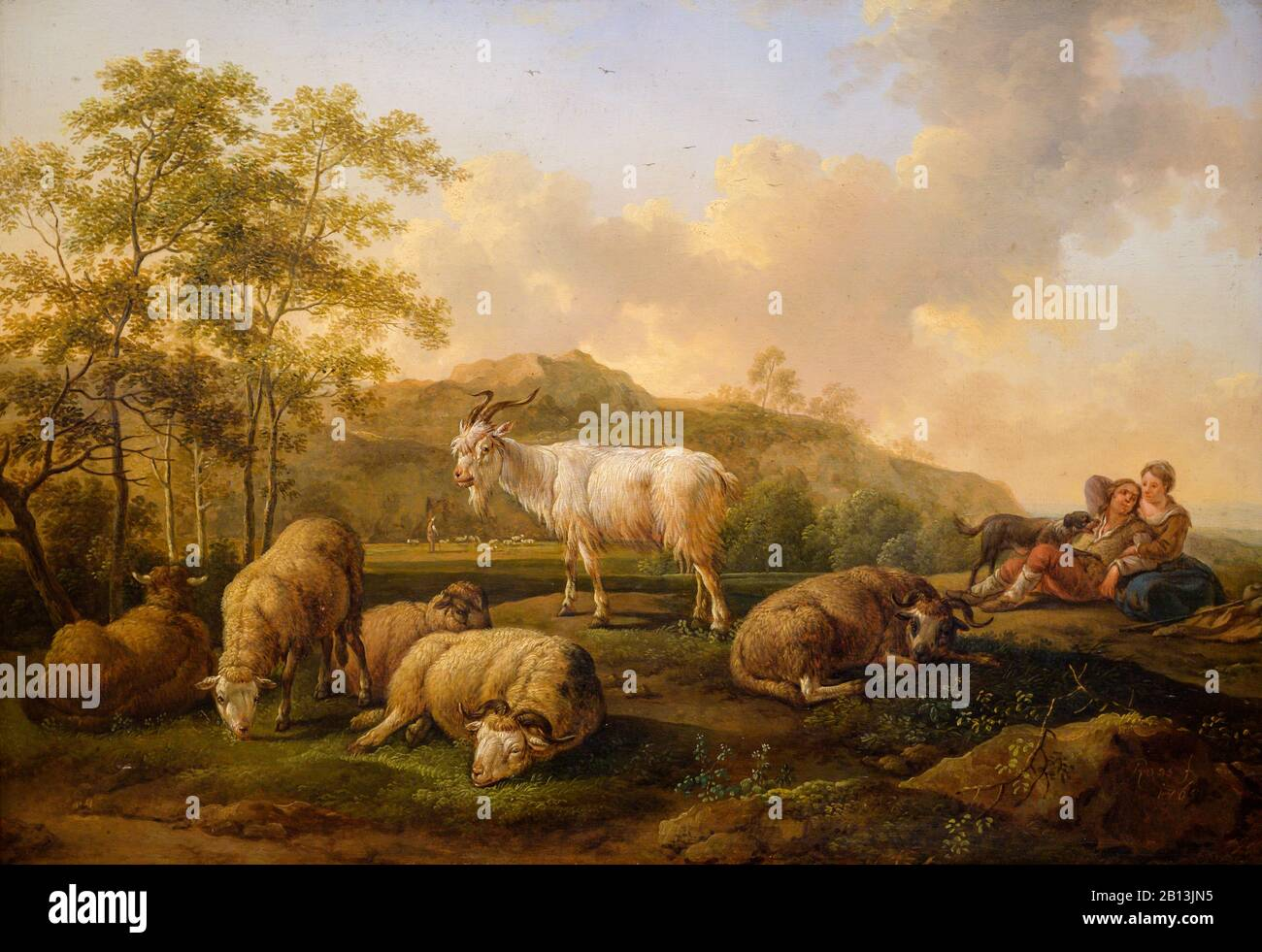 """""""Landscape with Grazing Cattle"""" (1765) by Joseph Roos the Elder (1726-1805) Stock Photo"""