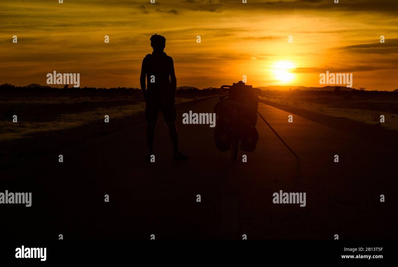 Cycling in the Adrar region of the Sahara Desert,Mauritania Stock Photo