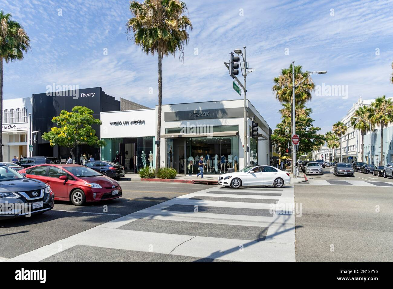 Luxury shopping around Rodeo Drive,Beverly Hills,Los Angeles,California,USA Stock Photo